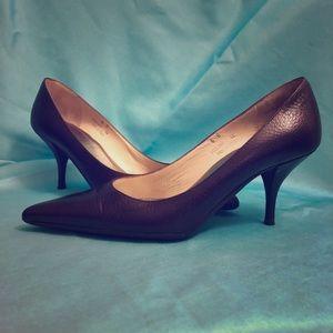 Coach Amy Brown Leather Pointed Kitten Stilettos